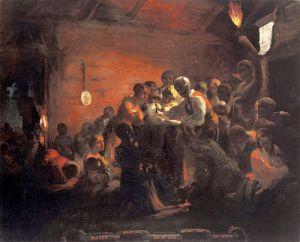 African Americans keep a watch meeting awaiting news of emancipation