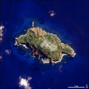 satellite photo of Pitcairn Island