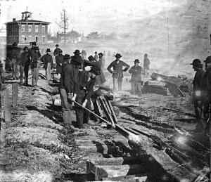 Sherman's troops destroying railroad tracks