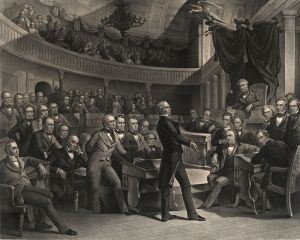 Henry Clay of Kentucky proposing the Compromise of 1850. Webster's support of the Compromise made some hate him.