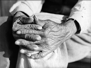 hands of an elderly slave